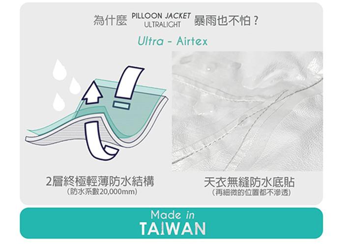 AirOgo Ultralight Pilloon 多用途內附頸枕旅行外套 (男款) -   午夜黑