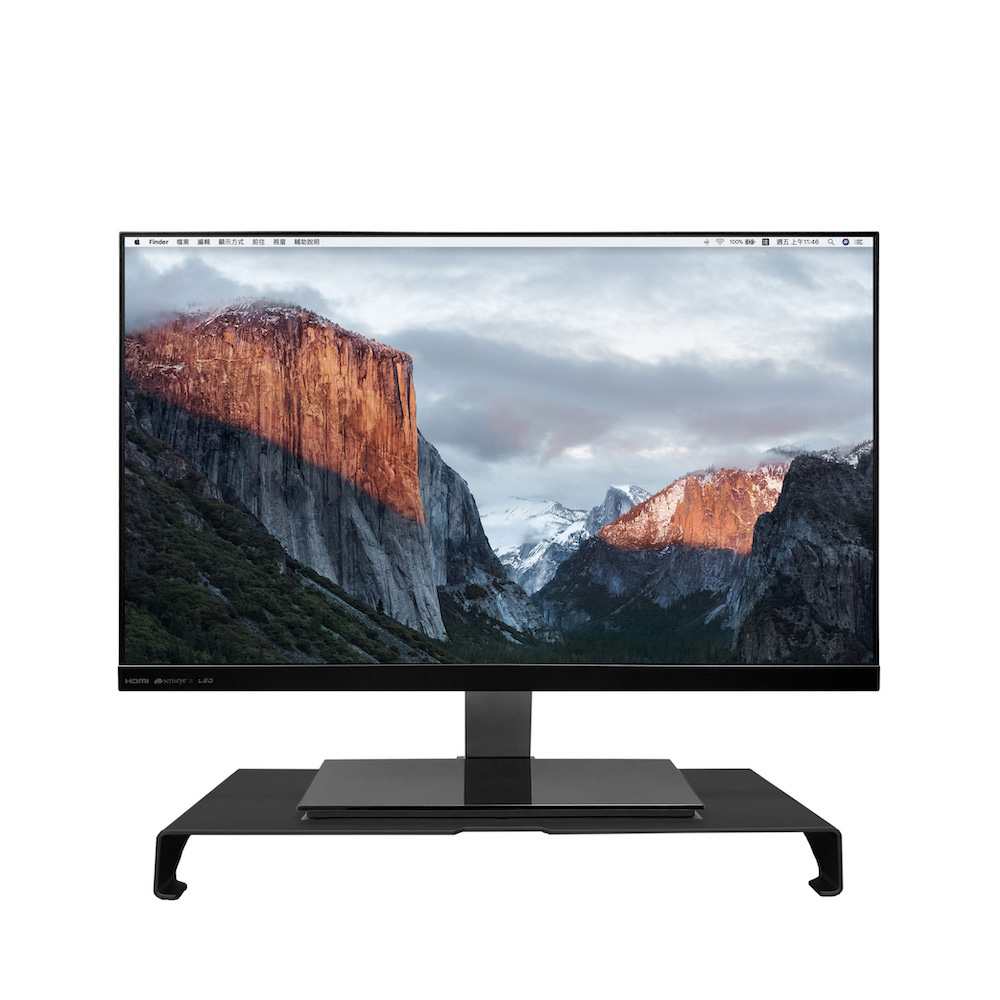 ENABLE|極簡 鋁合金 螢幕架/鍵盤收納/筆電座 多用途支架-黑色