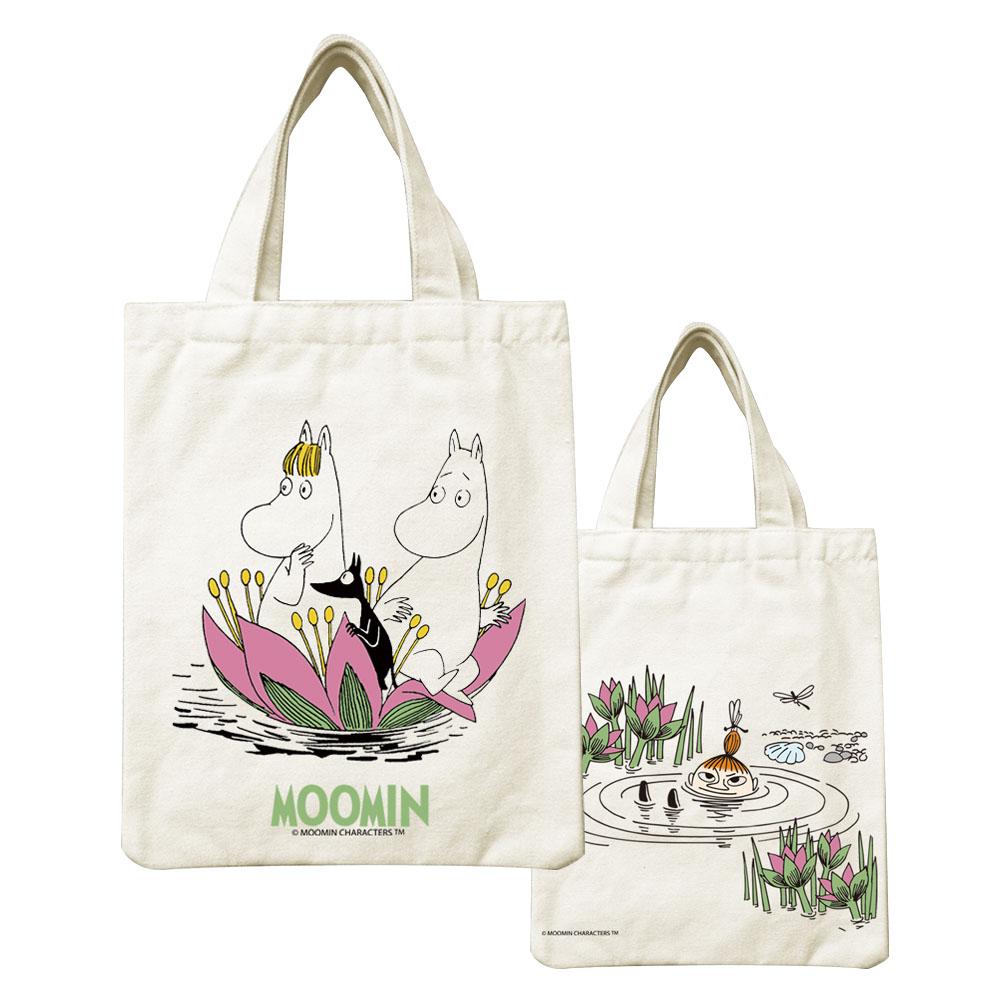 YOSHI850|Moomin嚕嚕米正版授權:小帆布包【蓮花池邊的嬉戲】