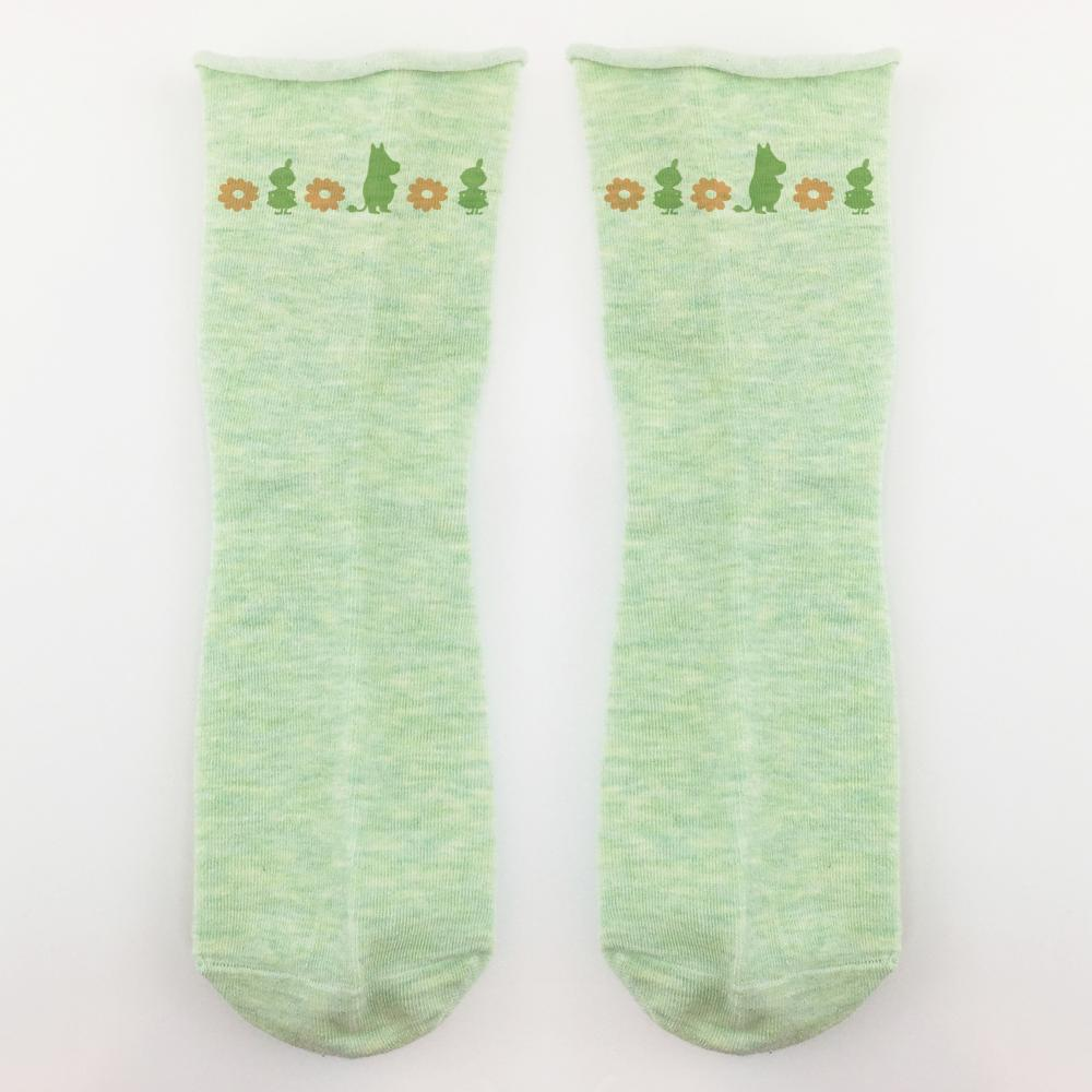 YOSHI850|嚕嚕米正版授權 - 捲邊長襪系列:【白/灰/紫/綠色4款圖】