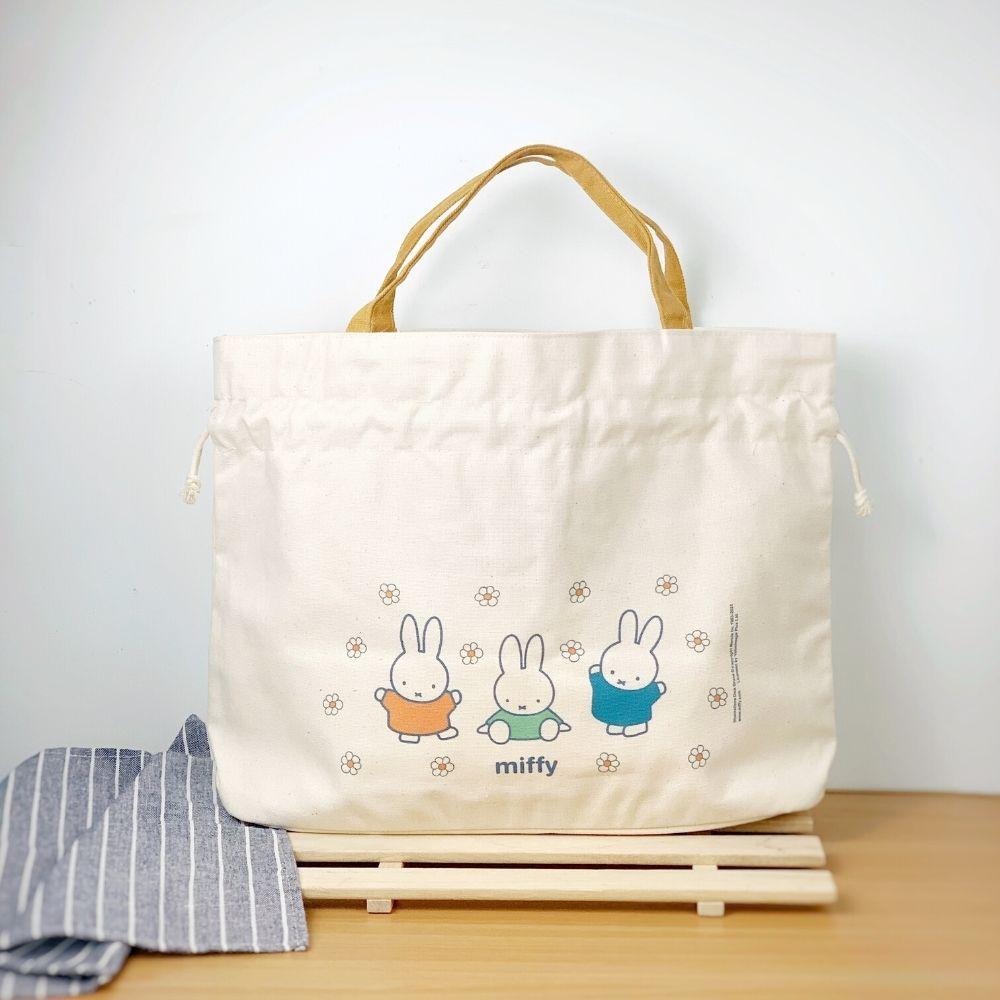 我適文創 MIFFY米飛兔 手提束口袋 -Miffy&flower