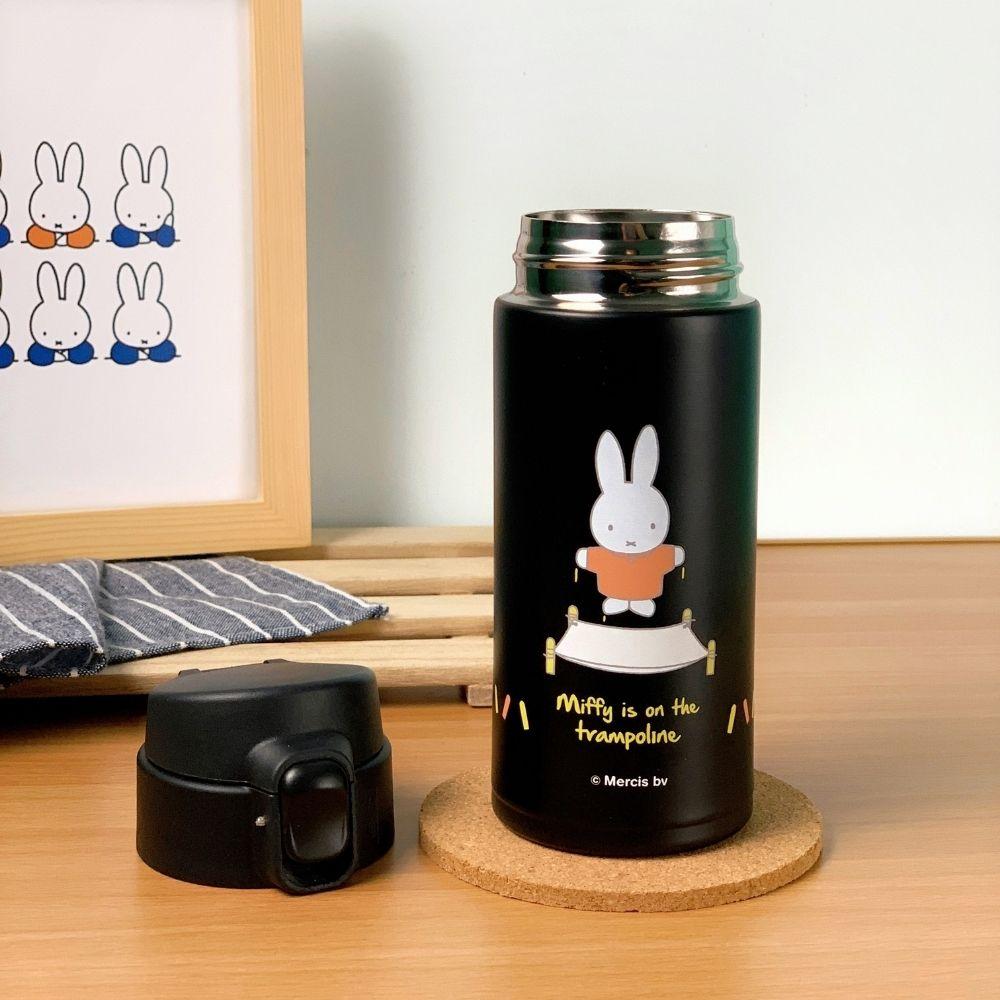 我適文創|MIFFY米飛兔 掀蓋保溫瓶 320ml -藍/粉/黑