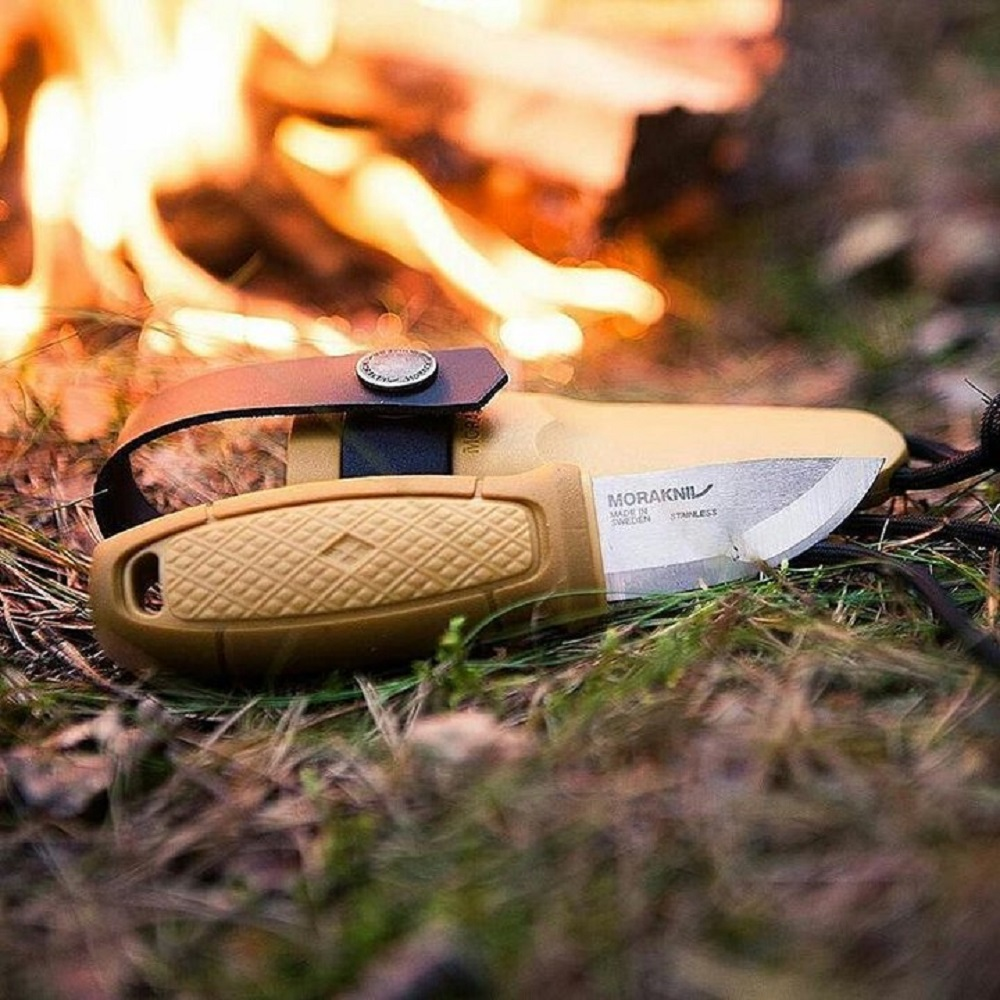 MORAKNIV|Eldris Neck Knife Kit 不鏽鋼短直刀組 附掛繩、打火石(藍)
