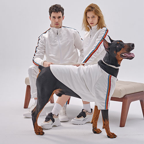 PEHOM|三色絨布條纹缎面狗狗運動衣