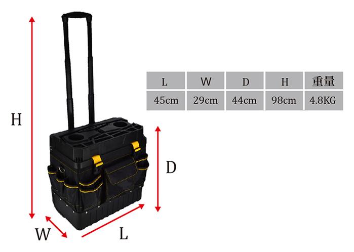 【集購】Light way|防汙防塵拉桿工具箱(紅)|開放式側袋