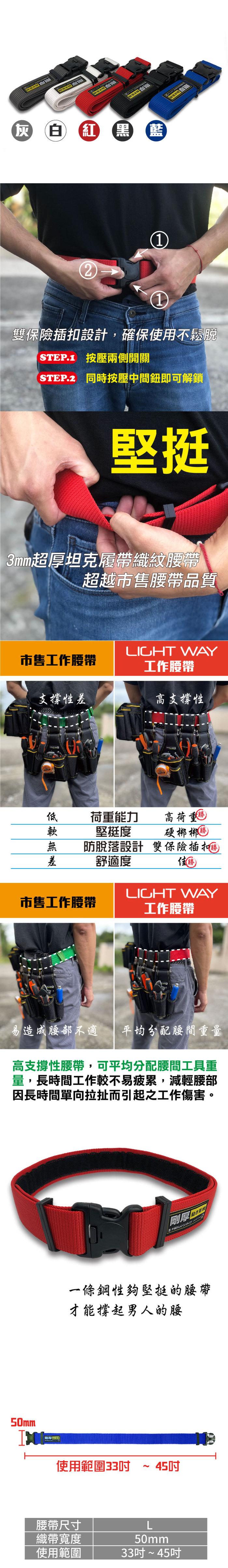 (複製)Light way 雙保險高鋼性工作腰帶(M) 23-34吋-灰