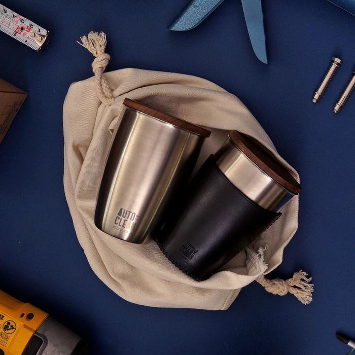 AUTOCLEAN|義大利軟植鞣革物理抗菌水杯 經典紅黑(2款可選)
