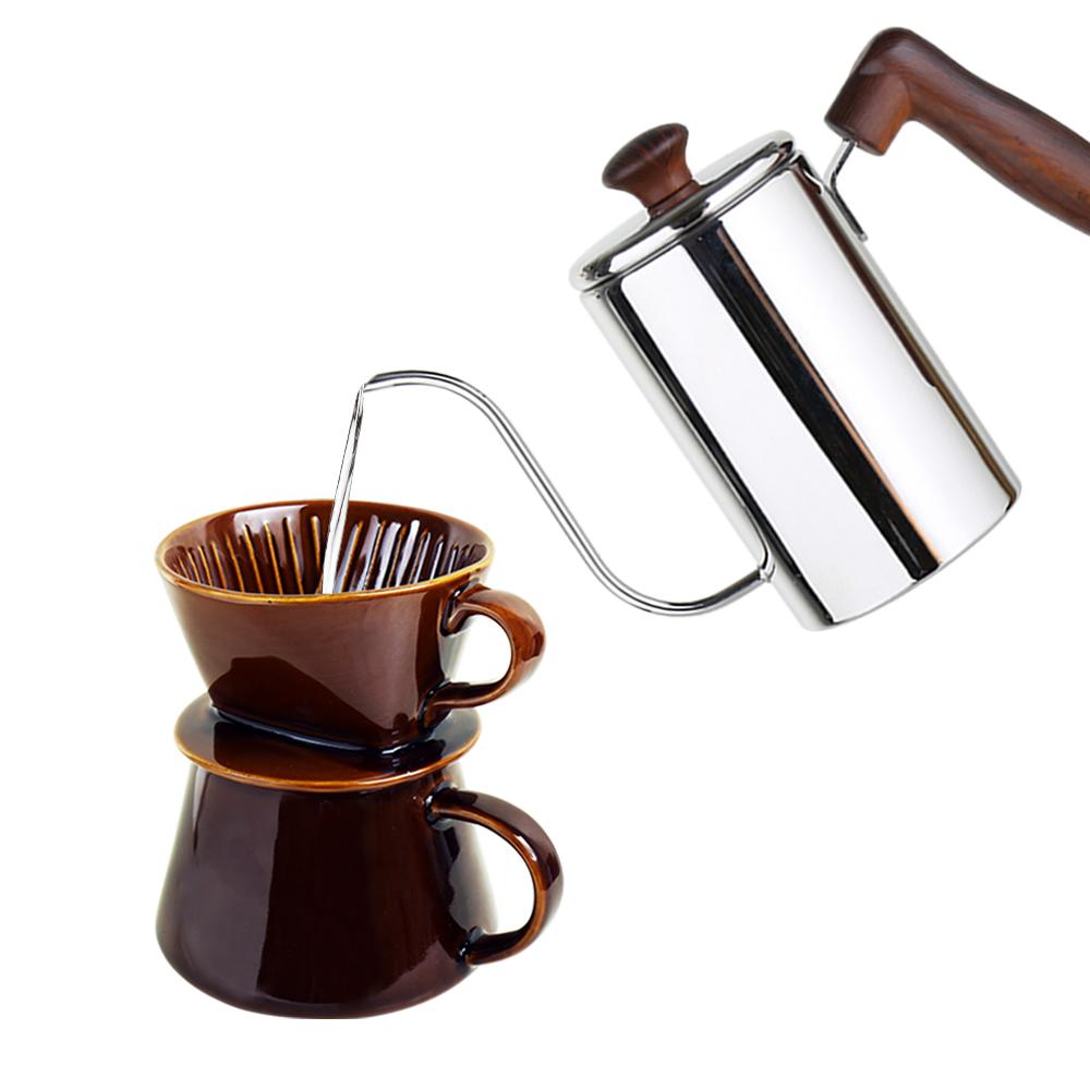 FUSHIMA 富島 手沖系列優雅組(細嘴壺500ML+職人濾杯組)-咖啡色組