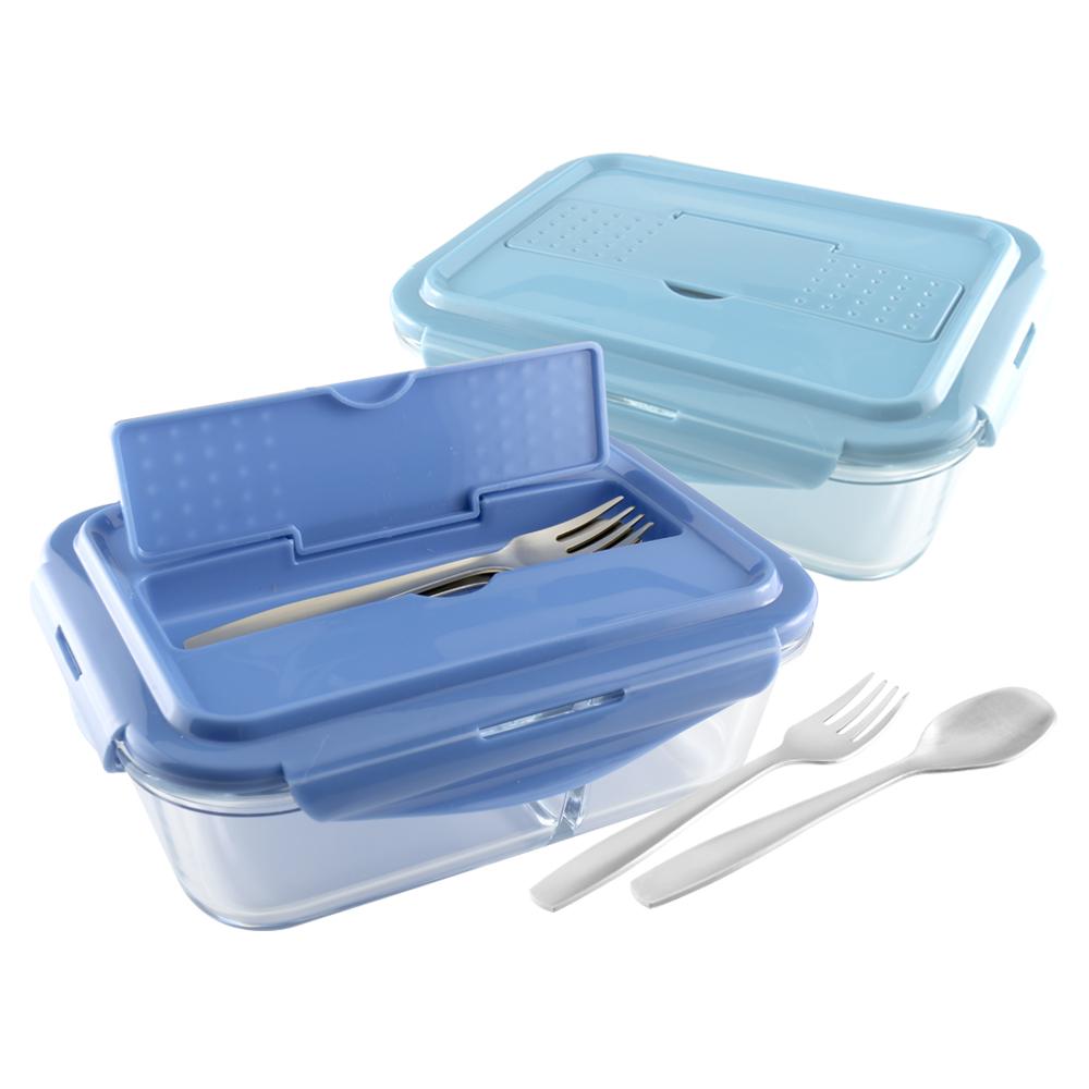 美國 Winox|安玻分隔玻璃保鮮盒長形2格1000ML附不鏽鋼餐具*2入