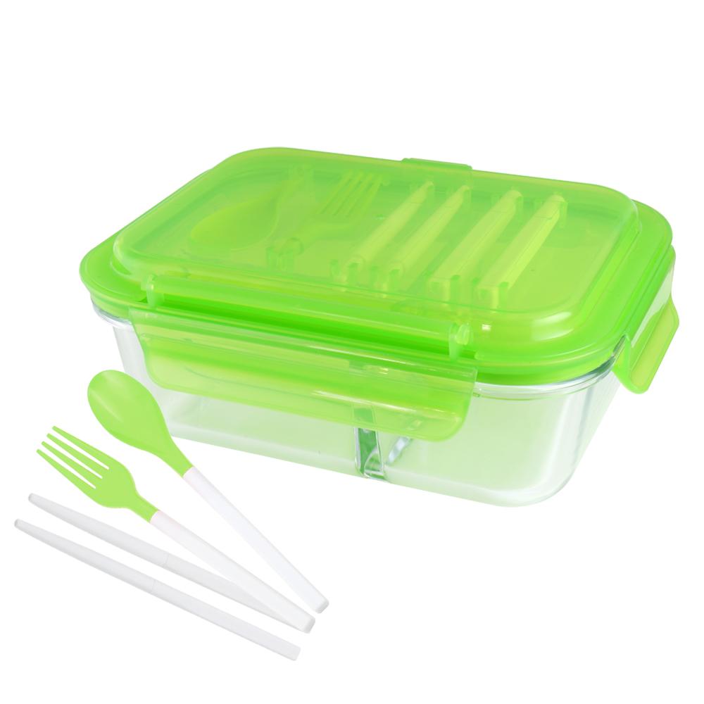 美國 Winox|安玻分隔玻璃保鮮盒長形3格1000ML附組合餐具*2入