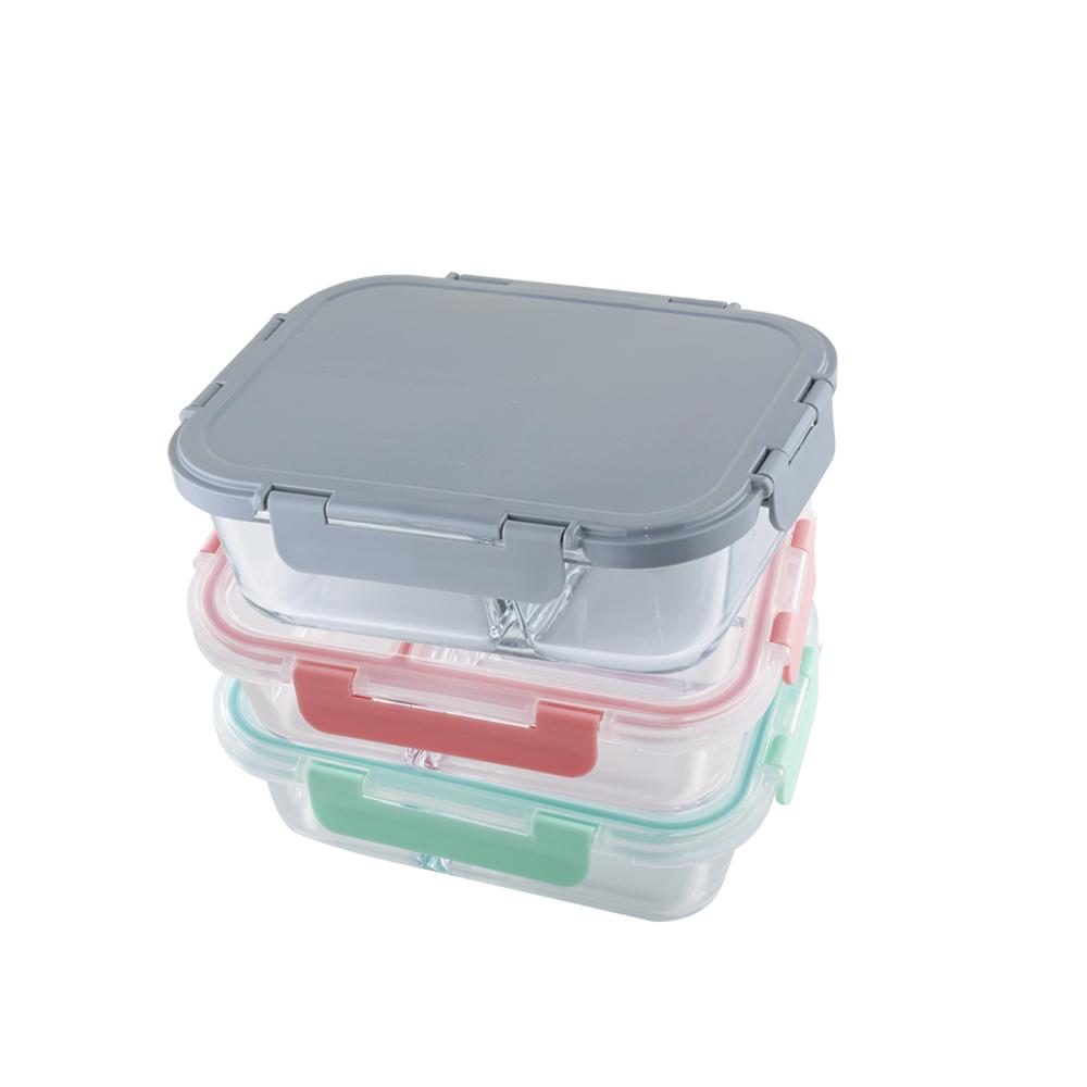 美國 Winox|安玻分隔玻璃保鮮盒長形3格1000ML(3色可選)