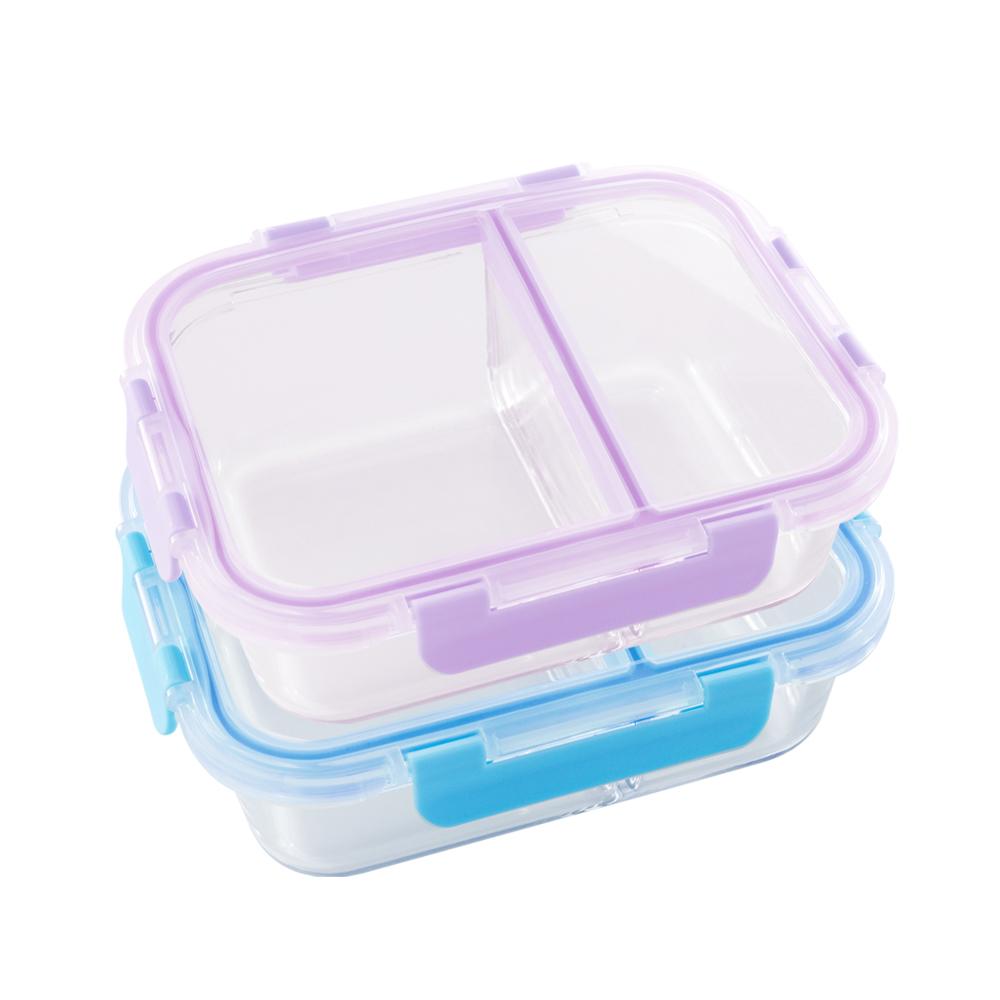 美國 Winox|安玻分隔玻璃保鮮盒長形2格860ML(2色可選)
