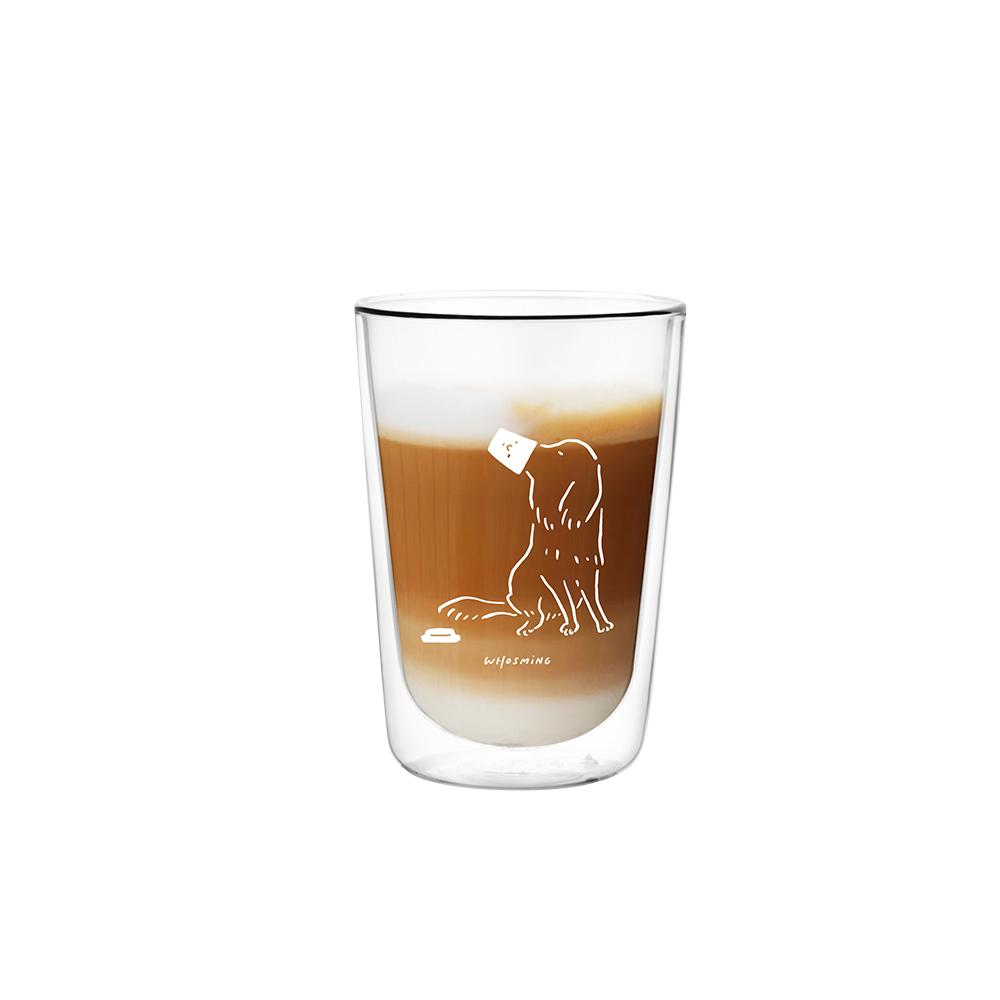 FUSHIMA 富島 FUSHIMA x WHOSMiNG 聯名款雙層玻璃杯380ml (狗主子)