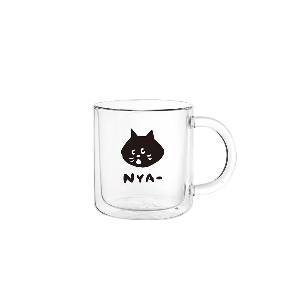 FUSHIMA 富島|FUSHIMA X NYA- 經典雙層玻璃杯400ML(把手) - 大貓