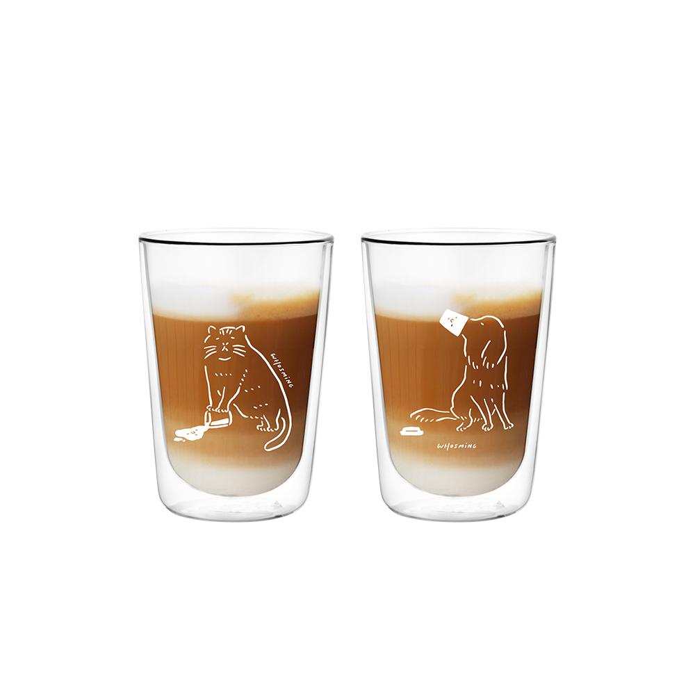 FUSHIMA 富島 FUSHIMA x WHOSMiNG 聯名款雙層玻璃杯380ml*2 (喵大人+狗主子)