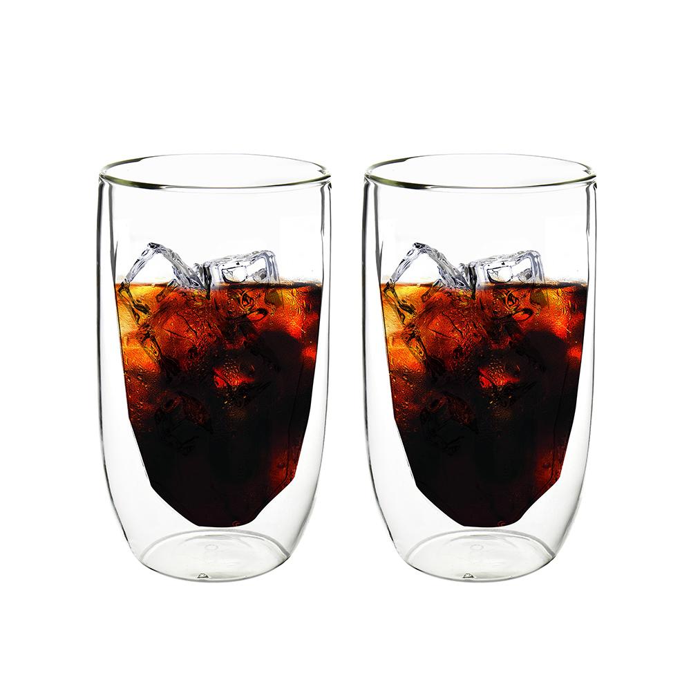FUSHIMA 富島 冰裂系列雙層耐熱玻璃杯380ML*2入