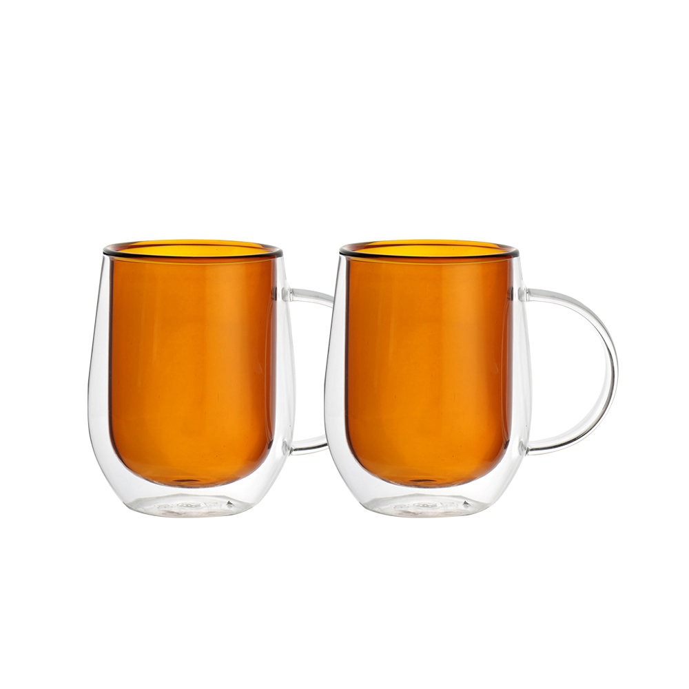FUSHIMA 富島|Addicted系列-雙層玻璃杯310ML-迷戀暖陽咖*2入