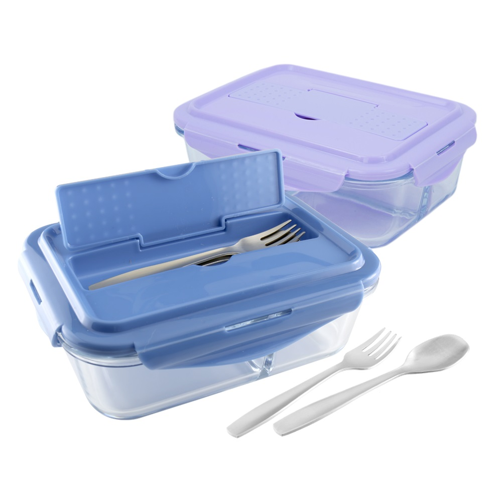 美國 Winox|安玻分隔玻璃保鮮盒長形3格1000ML附不鏽鋼餐具*2入