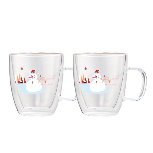 FUSHIMA 富島|聖誕限定-Joy樂摯雙層耐熱玻璃杯雪人款370ML(把手)*2入