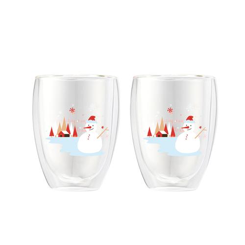 FUSHIMA 富島|聖誕限定-Joy樂摯雙層耐熱玻璃杯雪人款350ML*2入