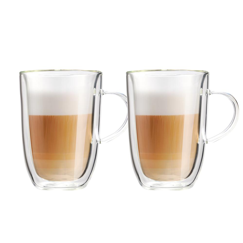 FUSHIMA 富島|極厚系列雙層耐熱玻璃杯350ML(把手)*2入
