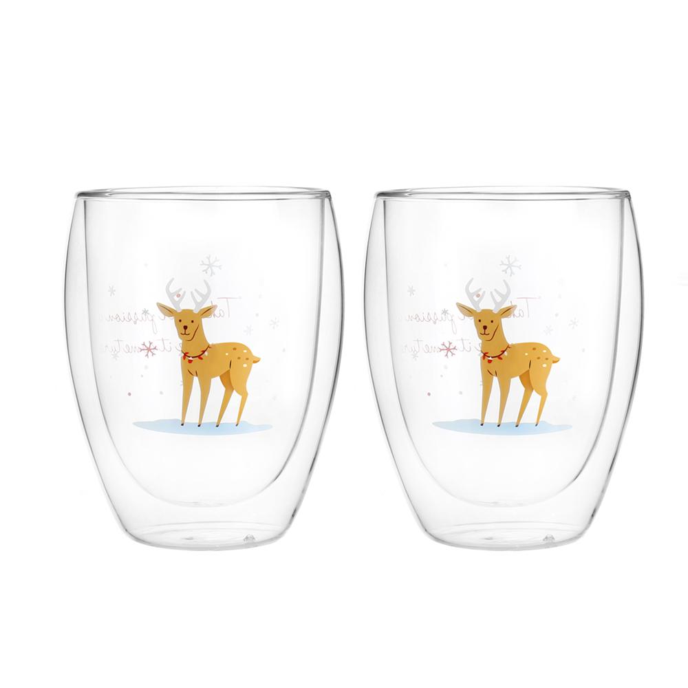 FUSHIMA 富島 聖誕限定-Joy樂摯雙層耐熱玻璃杯麋鹿款350ML*2入