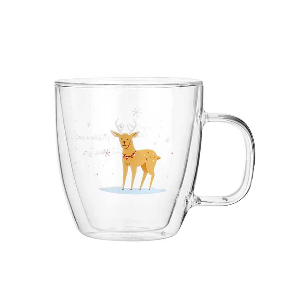 FUSHIMA 富島|聖誕限定-Joy樂摯雙層耐熱玻璃杯麋鹿款370ML(把手)
