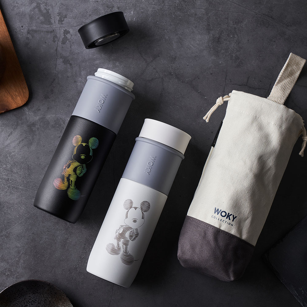 WOKY 沃廚|限定經典米奇款陶瓷保溫瓶袋組580ML(2款任選)