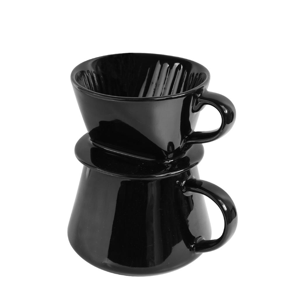 FUSHIMA 富島 Tlar陶瓷職人濾杯+陶瓷杯優雅組(黑濾杯+黑陶瓷杯)