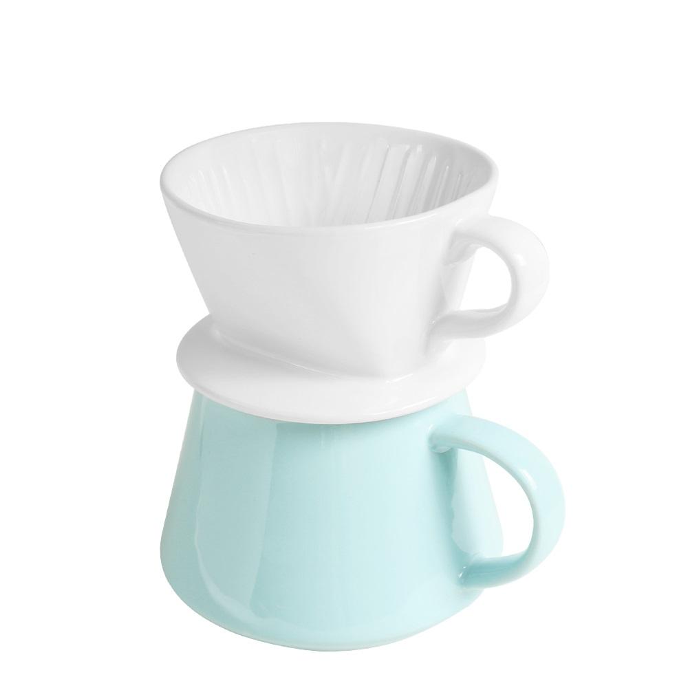FUSHIMA 富島 Tlar陶瓷職人濾杯+陶瓷杯優雅組(白濾杯+藍陶瓷杯)