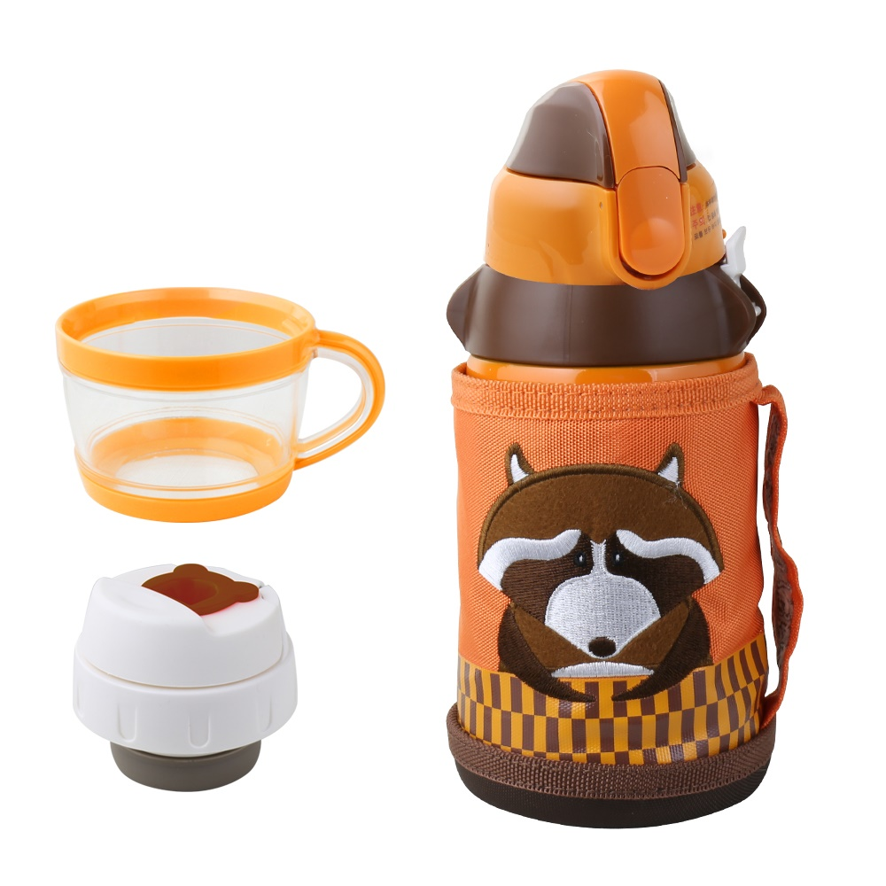BEDDY BEAR|兒童可背式保溫保冷水壺600ML(浣熊先生)