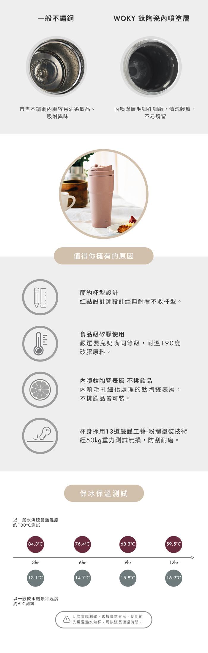 WOKY 沃廚|手提激凍輕芯鈦瓷易潔層保溫杯750ml(5色可選)