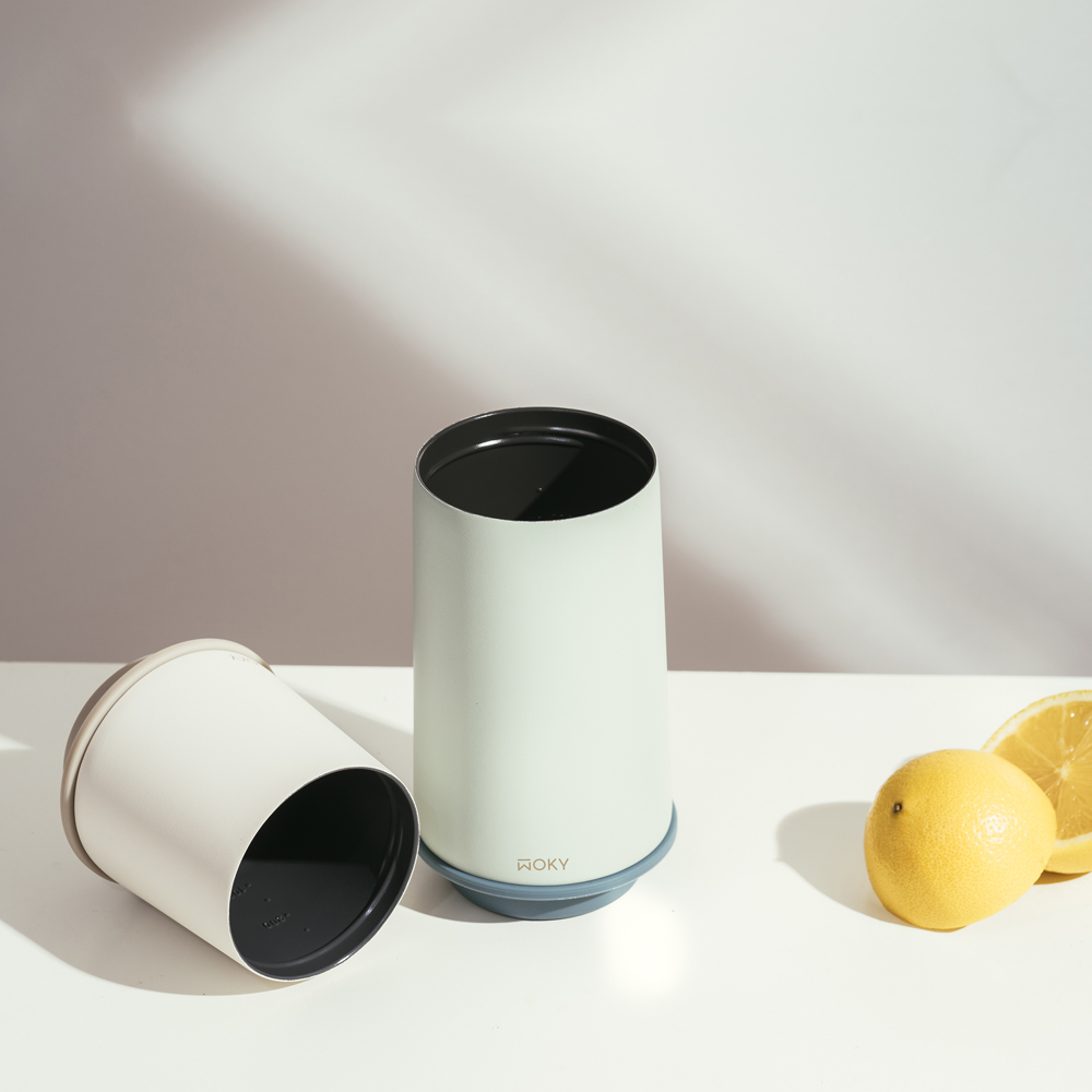 WOKY 沃廚|360° 輕芯鈦瓷真空雙蓋保溫杯350+600ml(雙杯優惠組)帽子杯