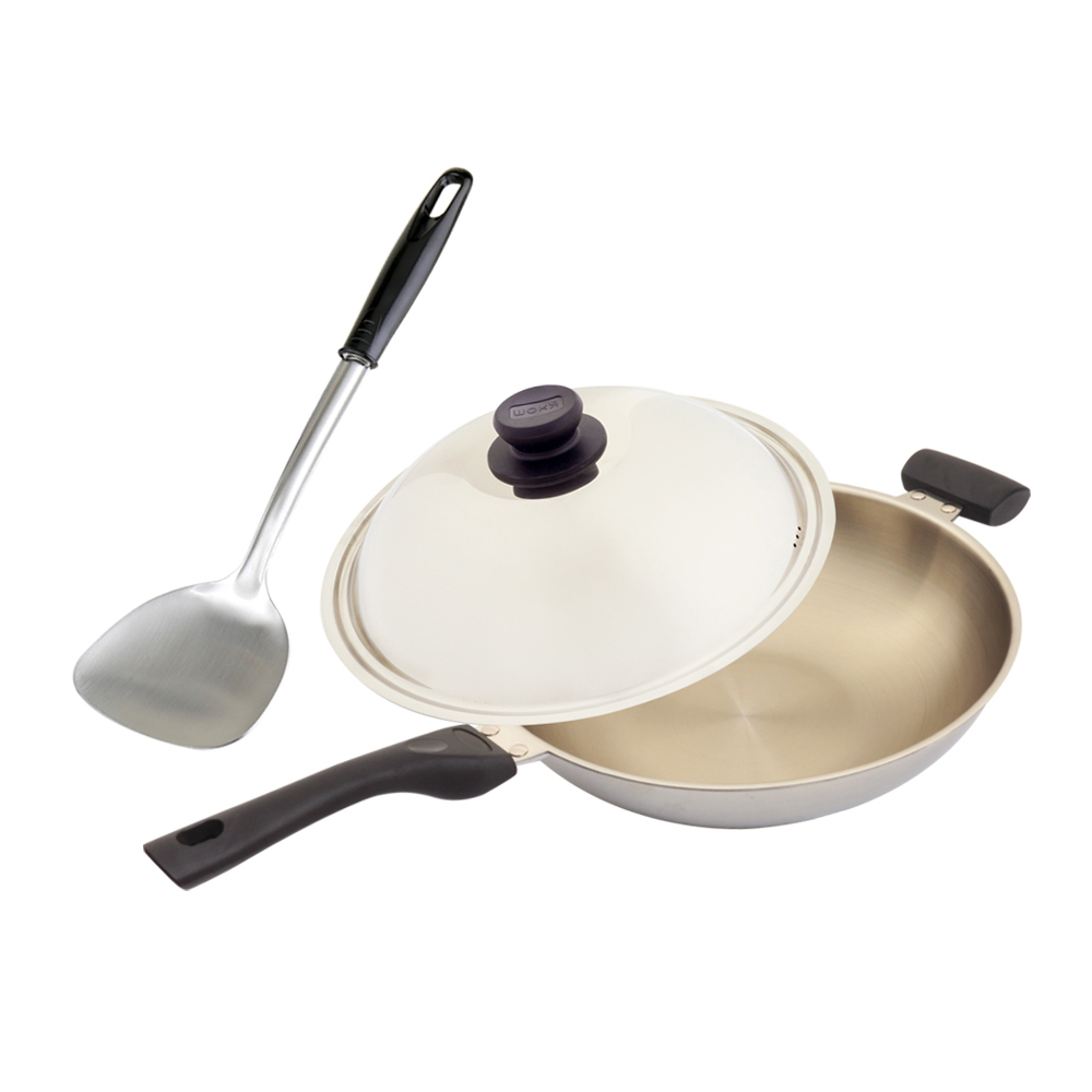 WOKY 沃廚 玫瑰金專利不鏽鋼萬用鍋(含蓋)34cm加贈OK智慧感溫鍋鏟