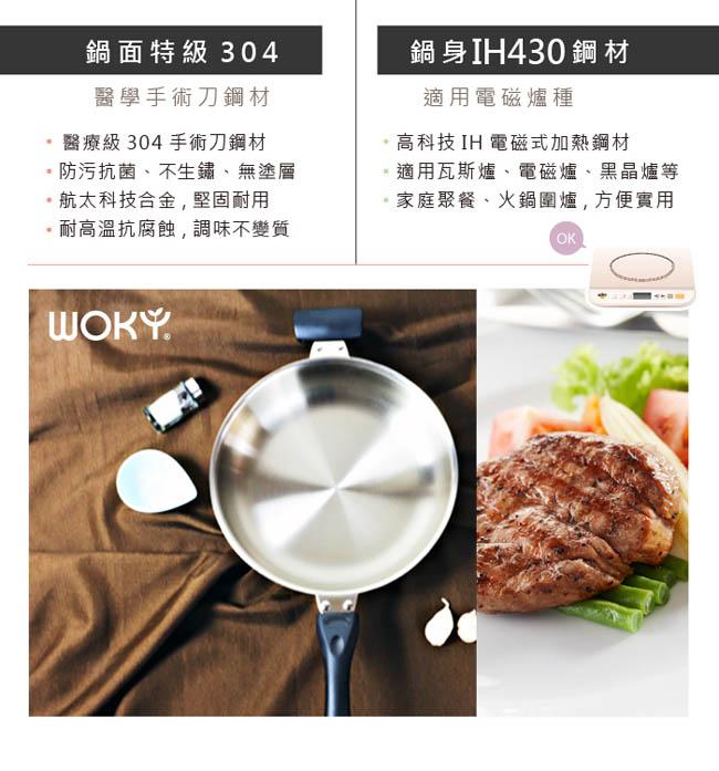 (複製)WOKY 沃廚 玫瑰金專利不鏽鋼炒鍋36cm(贈OK智慧感溫鍋鏟)