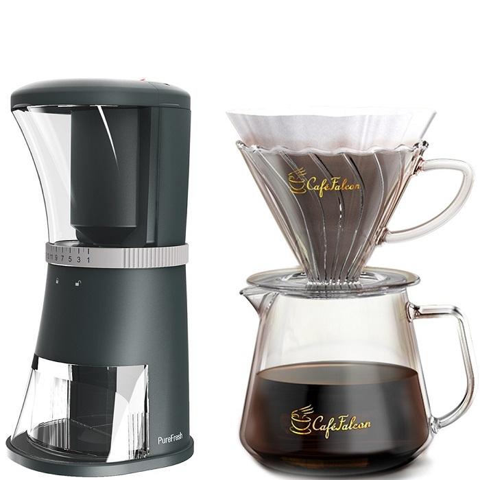 PowerFalcon|CaféFalcon 精品手沖咖啡濾杯組+PureFresh 醇鮮 咖啡磨豆機(第二代)贈濾紙