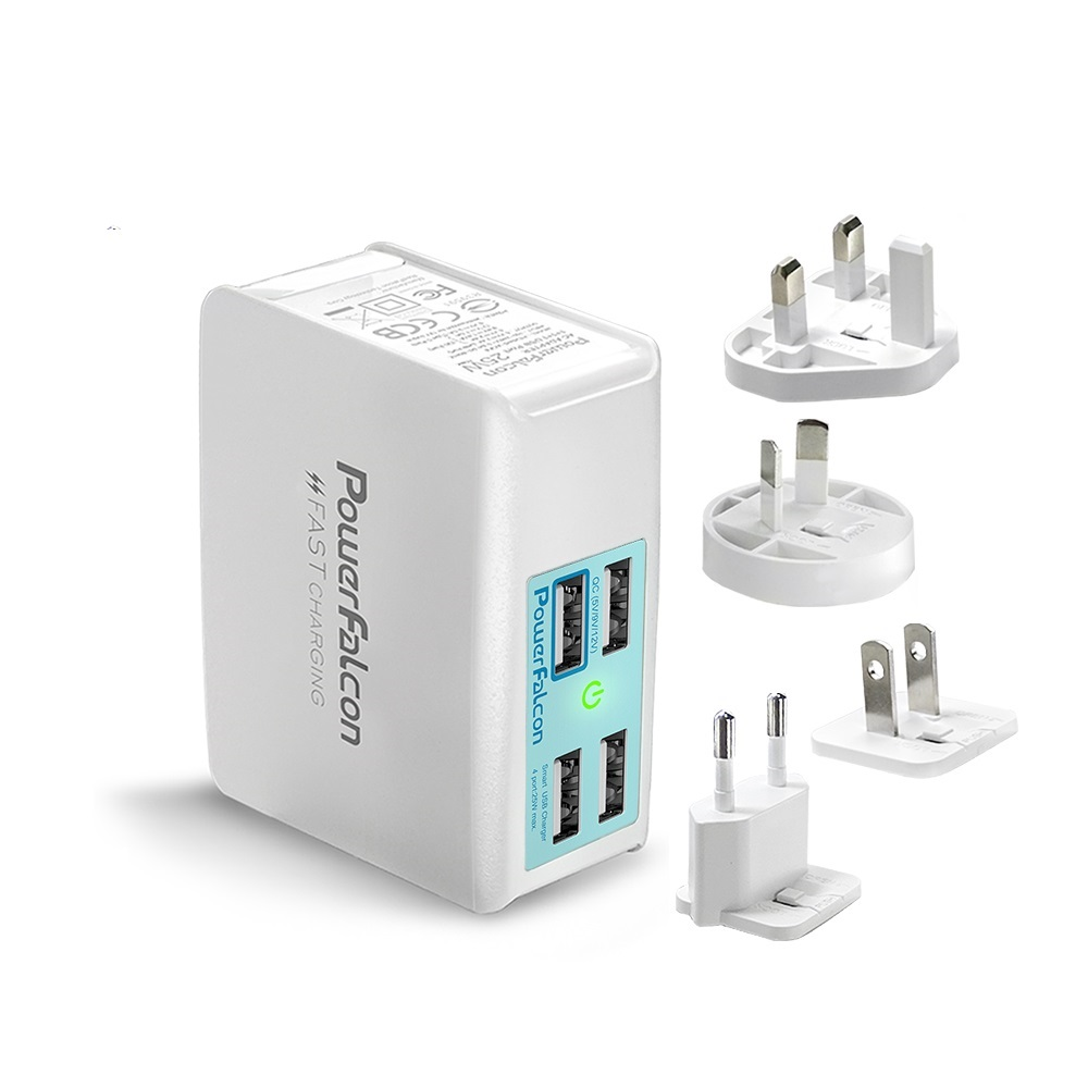 PowerFalcon|3口USBA+1口QC3快速充電器/萬國旅遊