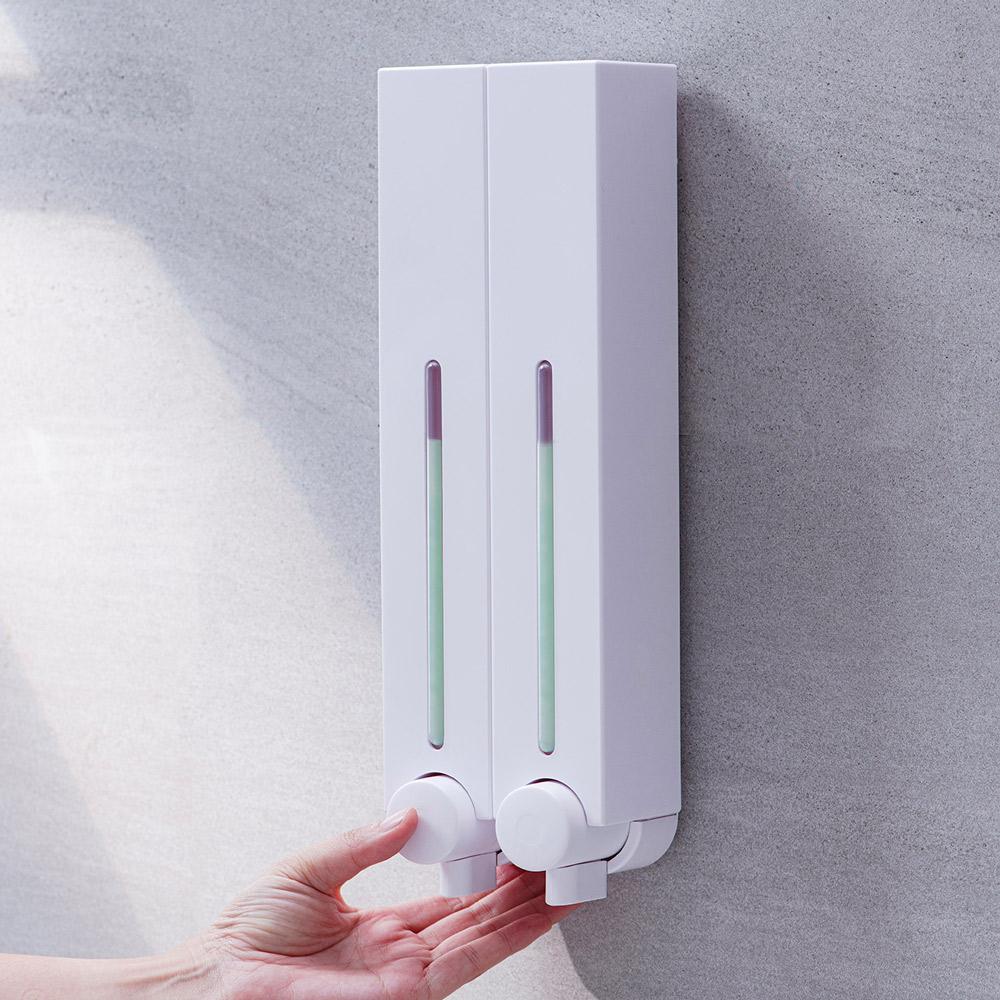Homepluz|免鑽孔極簡風雙瓶沐浴給皂機500ml - 珍珠白