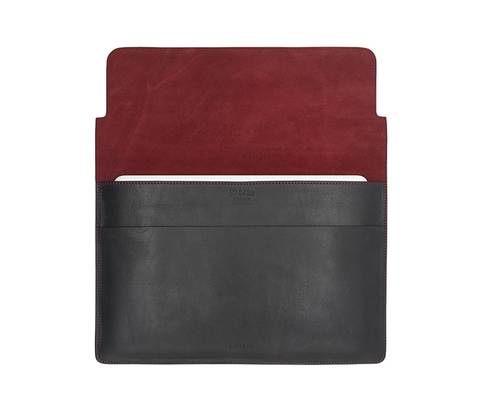 Del Sur DS 阿根廷頭層牛皮純手工植鞣天然皮革-13.3橫式電腦包-經典黑