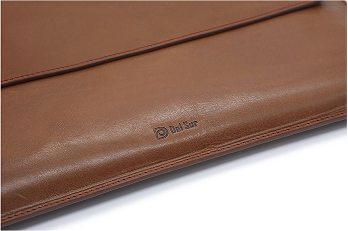 Del Sur|DS 阿根廷頭層牛皮純手工植鞣天然皮革-15.4橫式電腦包-菸草棕