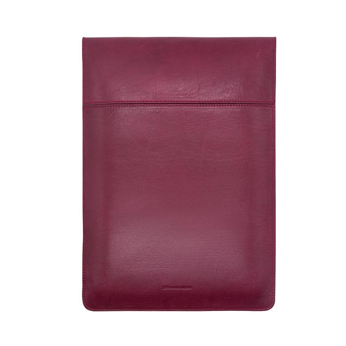 (複製)Del Sur DS 阿根廷頭層牛皮純手工植鞣天然皮革-13.3橫式電腦包-楓葉紅