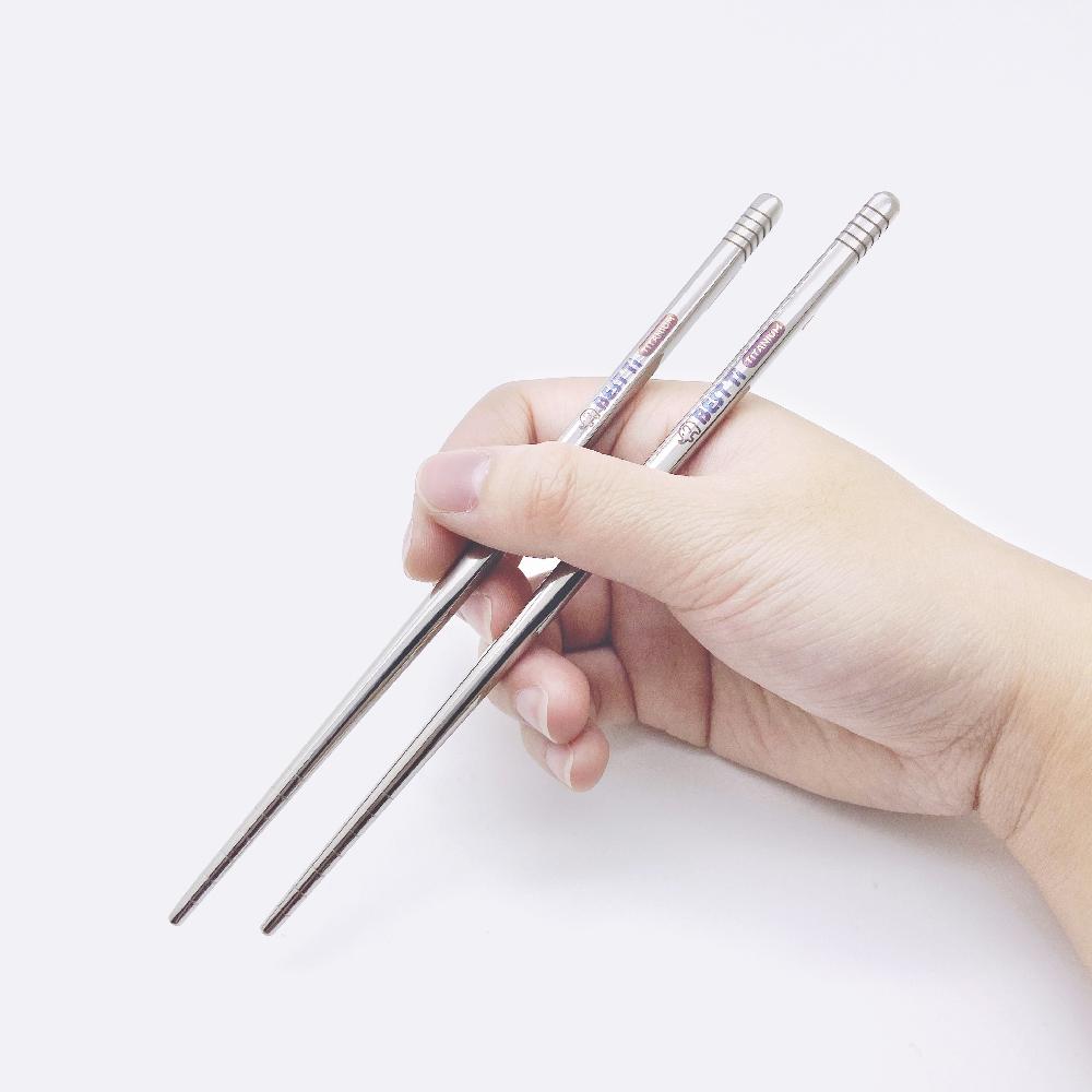 BEST Ti|純鈦筷 亮面空心短方鈦筷 17.5cm (附麻布收納袋)