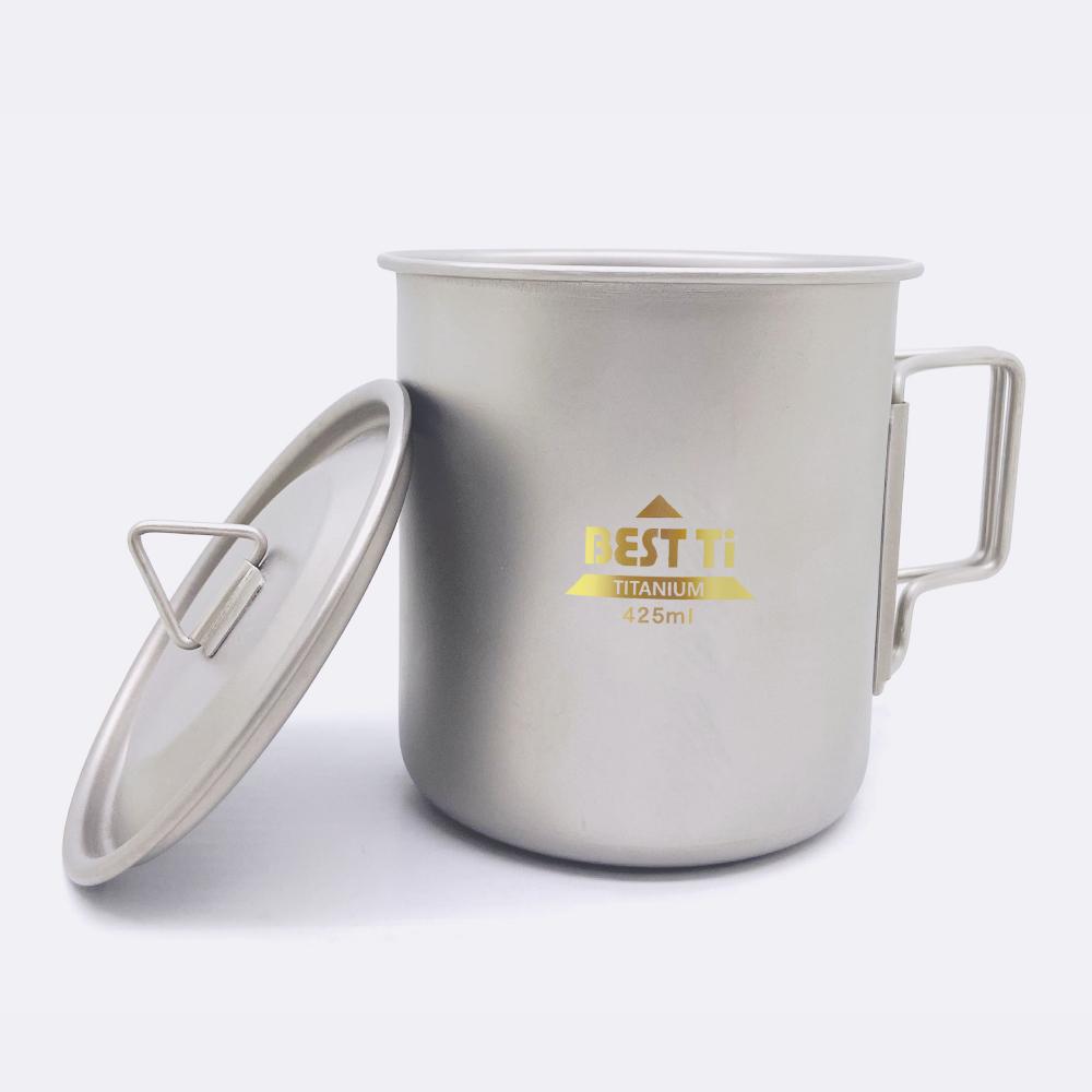 BEST Ti|純鈦馬克杯 折疊杯 425ml (附收納網袋)