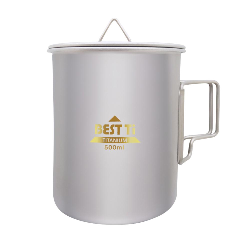 BEST Ti 純鈦馬克杯 折疊杯 500ml (附收納網袋)