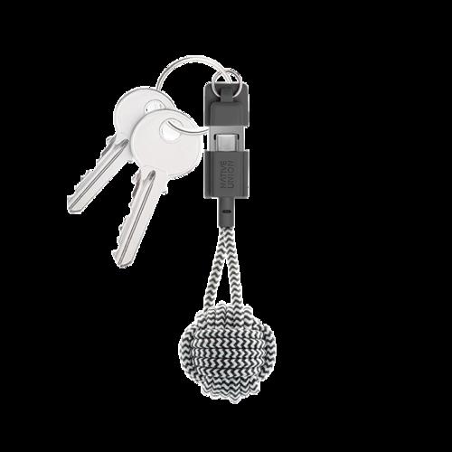 NATIVE UNION|鑰匙圈充電線 USB A-C - 斑馬