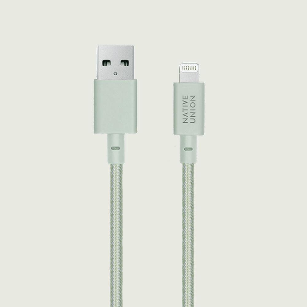 NATIVE UNION|1.2m收納式充電線 Lightning - 薄荷綠
