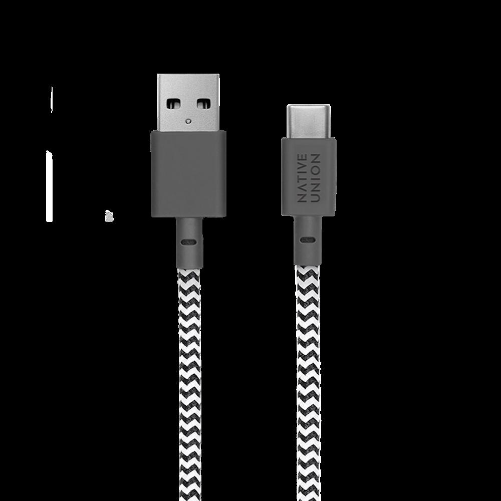 NATIVE UNION|1.2m收納式充電線 USBA-C - 斑馬