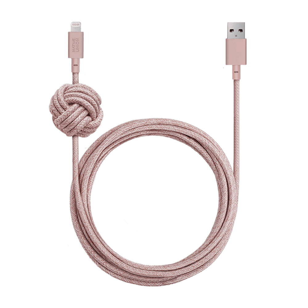 NATIVE UNION|3公尺 床邊充電線 Lightning - 柔霧粉