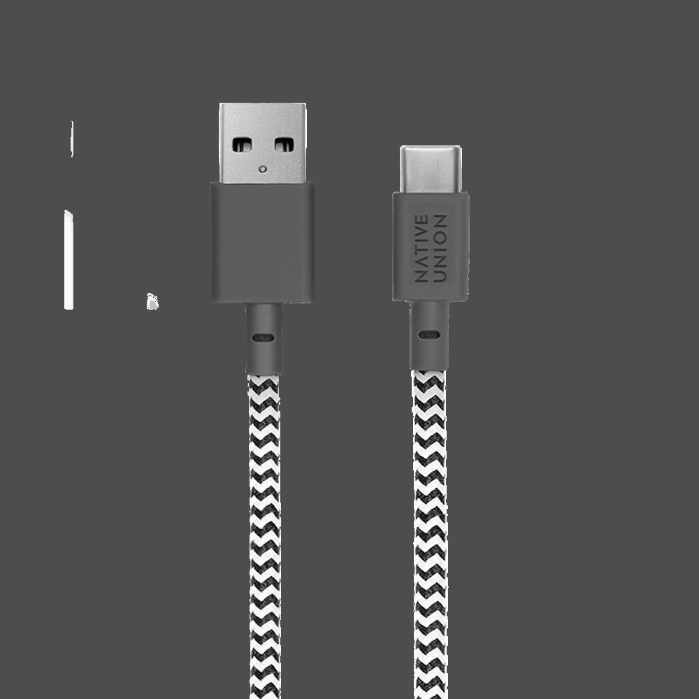 NATIVE UNION|3公尺 床邊充電線 USBA-C - 斑馬