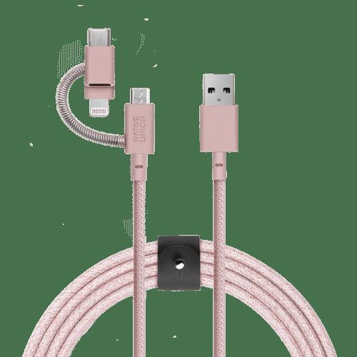 NATIVE UNION|3合1收納式充電線 - 柔霧粉